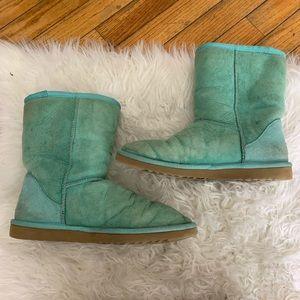 Ugg Turquoise Leather Sheepskin Short Boots 5825